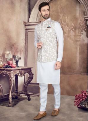 Art Silk Printed Nehru Jacket Suit