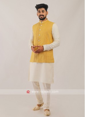 Nehru Jacket Suit In Yellow And White