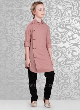 Neon Coral Color Kurta With Black Color Bottom