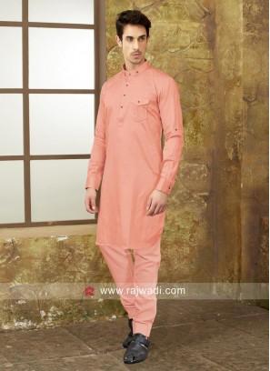 Neon Coral Cotton Silk Pathani Set