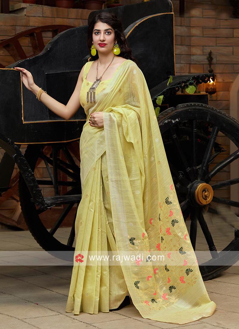 Neon Green Cotton Silk Saree