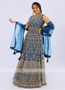 Net Anarkali Suit In Blue