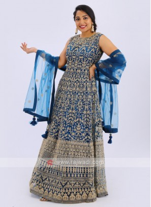 Net Anarkali Suit In Blue