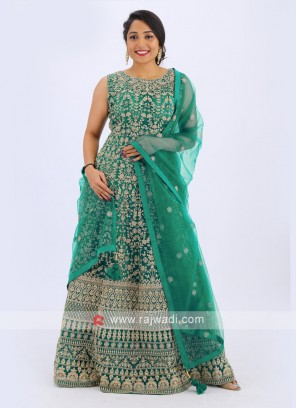 Net Anarkali Suit In Green