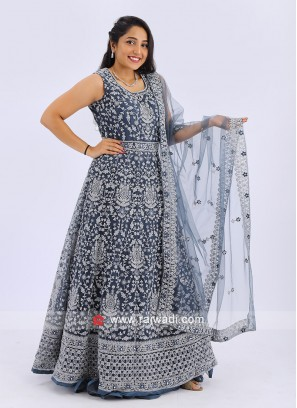Net Anarkali Suit In Grey