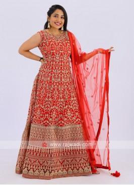 Net Anarkali Suit In Red