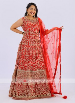 Net Anarkali Suit In Red