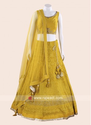 Net and Art Silk Lehenga Choli in Yellow
