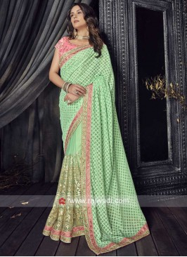 Net and Chiffon Saree in Pista Green