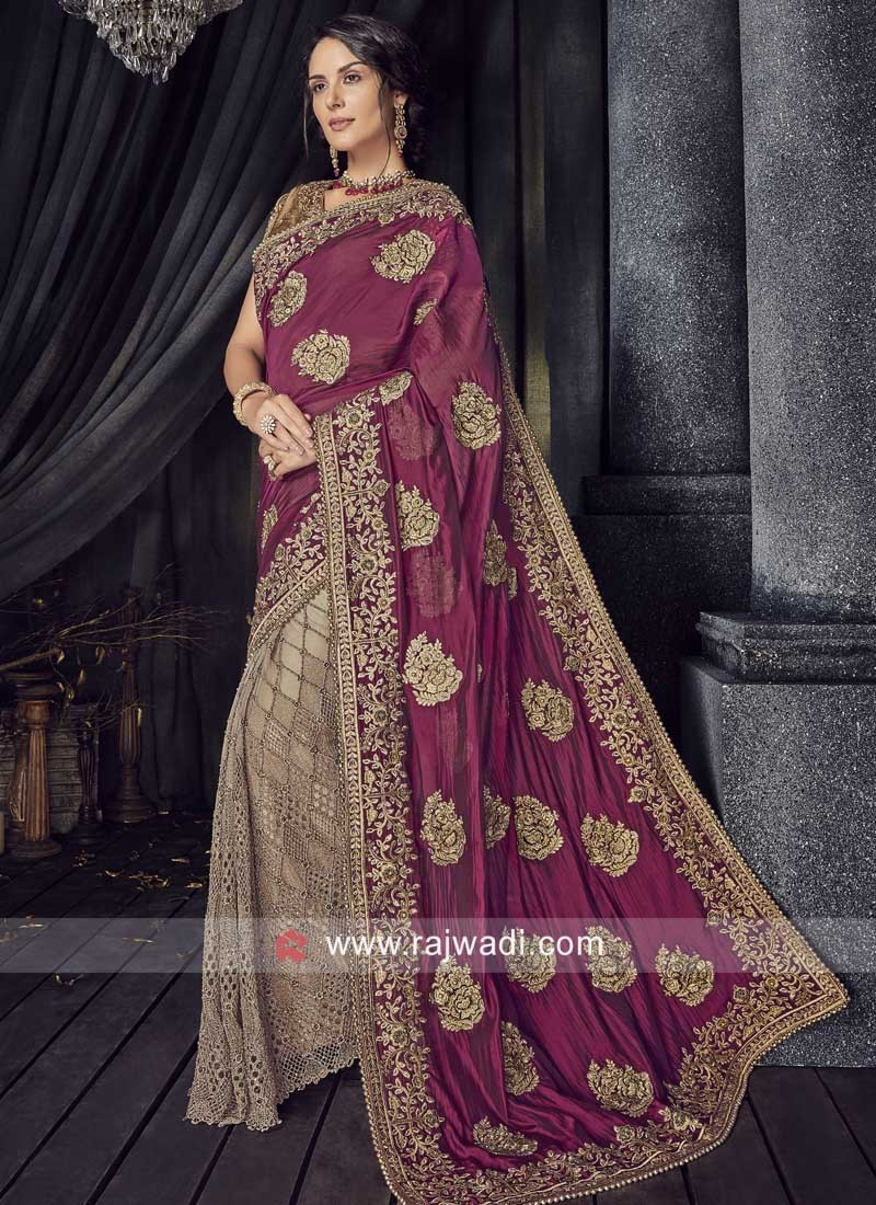 Net and Chiffon Silk Half n Half Saree