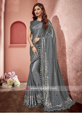 Net and Lycra Saree with Frill Border