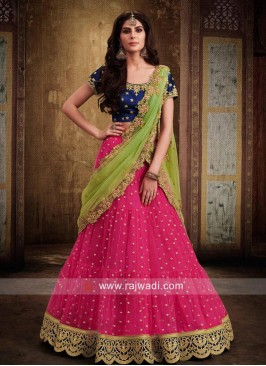 Net and Raw Silk Lehenga Set
