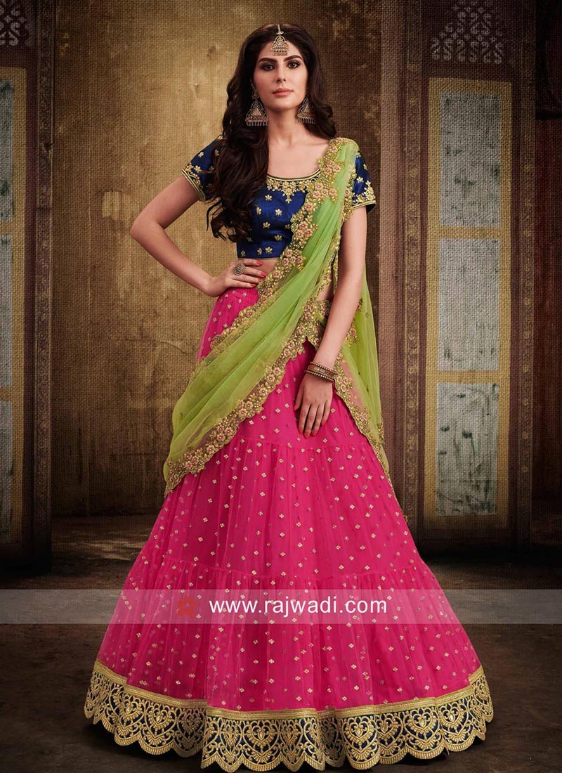 c89d4911cc Net and Raw Silk Lehenga Set. Hover to zoom