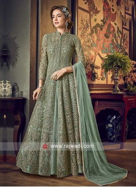 Net and Satin Heavy Embroidery Anarkali Suit