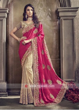 Net and Satin Silk Half n Half Saree