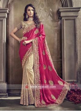 Net and Satin Silk Half n Half Saree