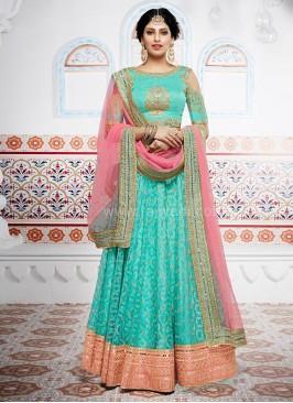 Net and Silk Wedding Designer Lehenga Saree
