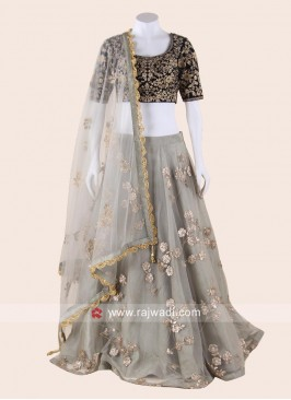 Net and Velvet Lehenga Choli with Dupatta