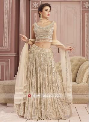 Net Beige Color Choli Suit