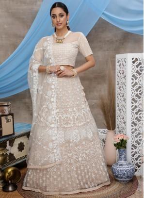 Net Beige Thread Trendy Designer Lehenga Choli