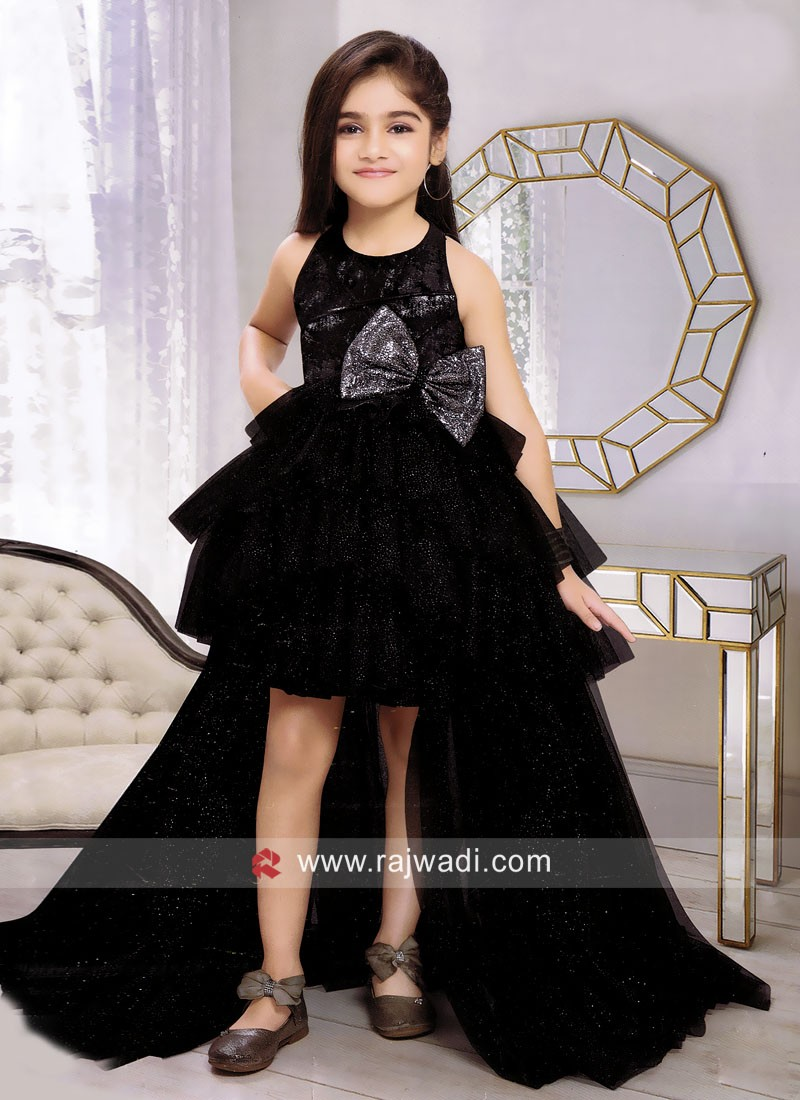 Net Black Trail Gown for Kids