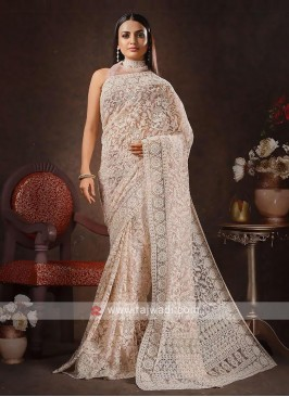 Net chikan saree in misty rose color