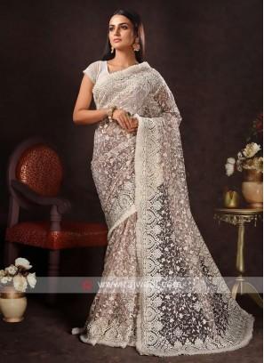 Net chikan work saree in white