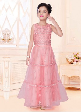 Net Choli Suit For Girls In Pink