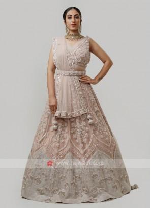 Net Choli Suit In Light Peach