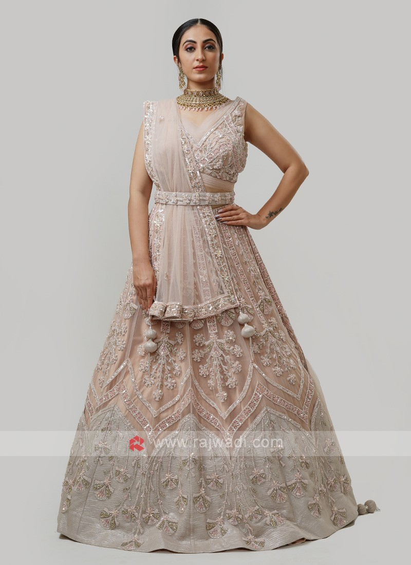 Net Choli Suit In Light Peach