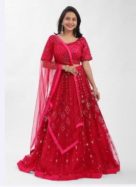 Net Choli Suit In Rani Color