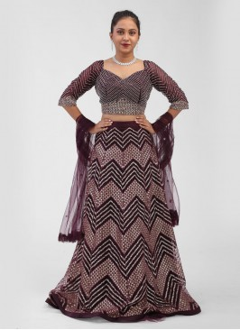 Net Choli Suit In Wine Color