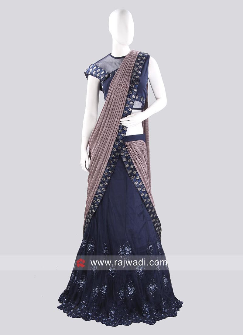 Net Crush Lehenga Saree