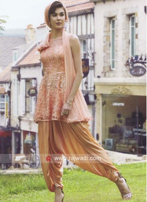 Net Designer Dhoti Suit in Peach