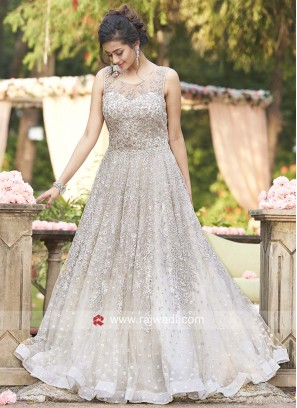 Net Designer Gown in Grey