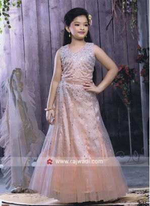Net Designer Kids Choli Suit in Peach