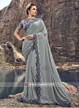 Lycra Designer Saree with Blouse