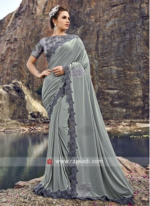 Lycra Designer Saree with Blouse