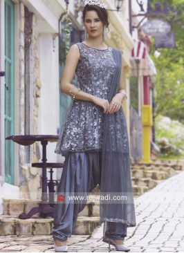 Net Dhoti Suit in Grey