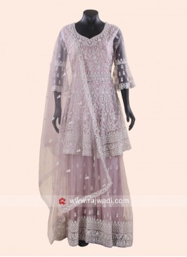 Net Diamond Work Gharara Suit with Dupatta