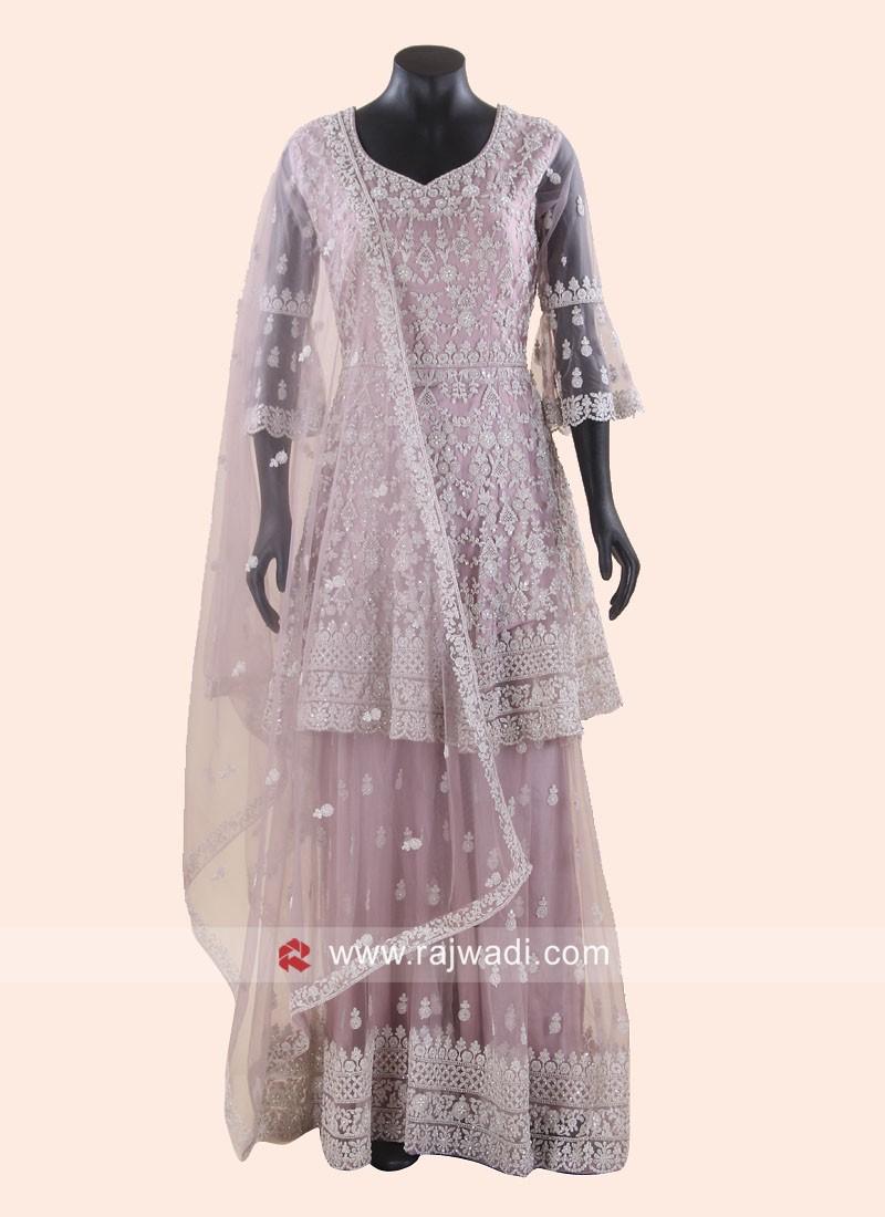 Net Diamond Work Gharara Suit with Dupatta