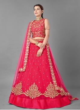 Net Dori Work Pink Lehenga Choli
