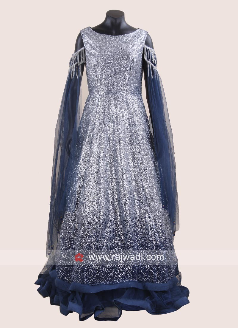 Net Double Layered Gown with Fancy Sleeves