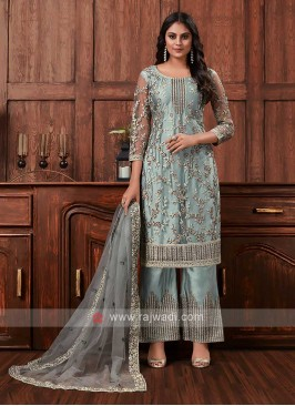 Net dress material in grey color