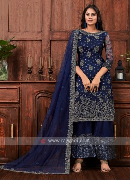 Net dress material in navy blue color