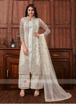 Net dress material in off white color
