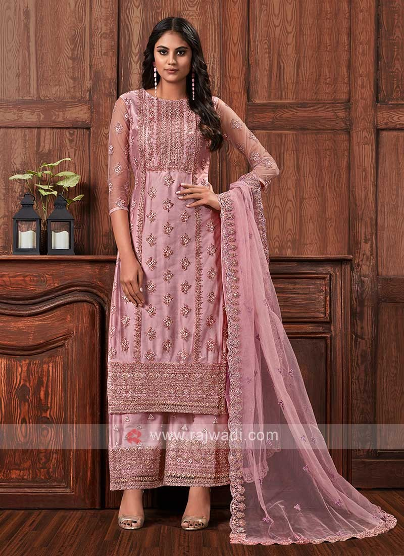Net dress material in pink color