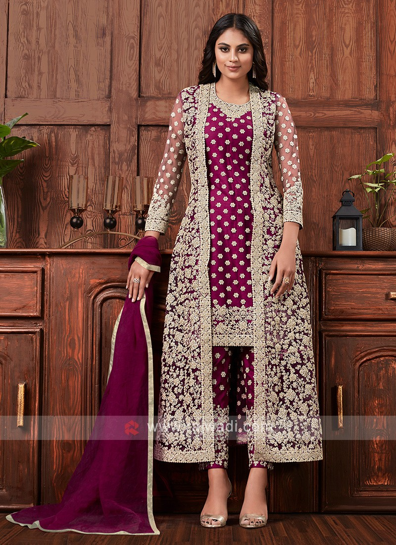 Net dress material in wine color