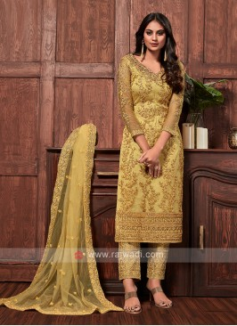 Net dress material in yellow color