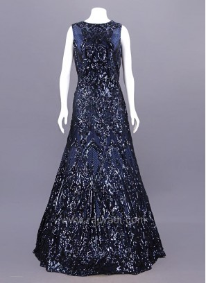 Net Embellished Dark Navy Blue Gown
